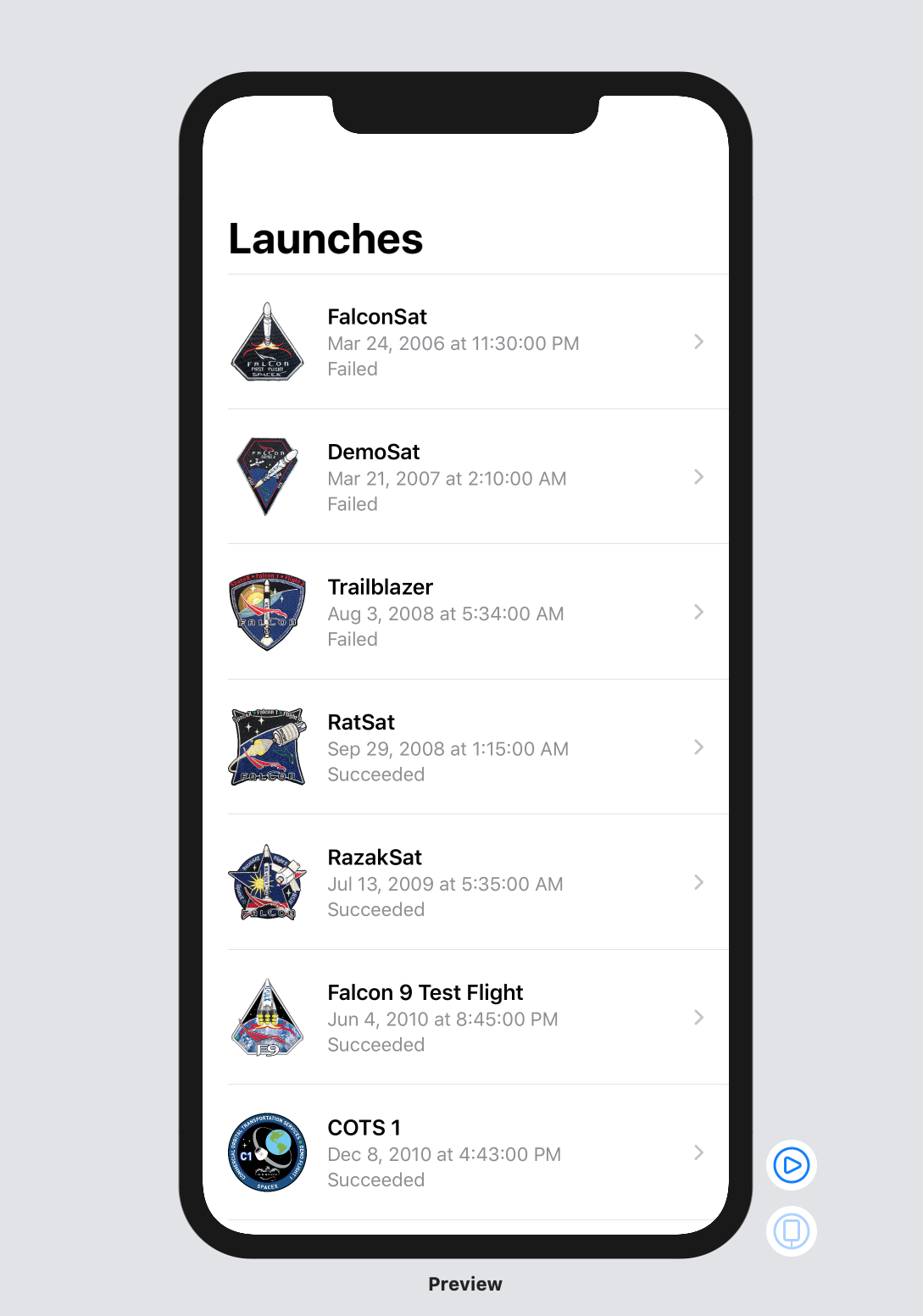 launches view