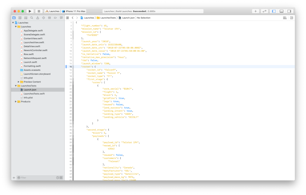 saving JSON data in a file to test Swift decoding