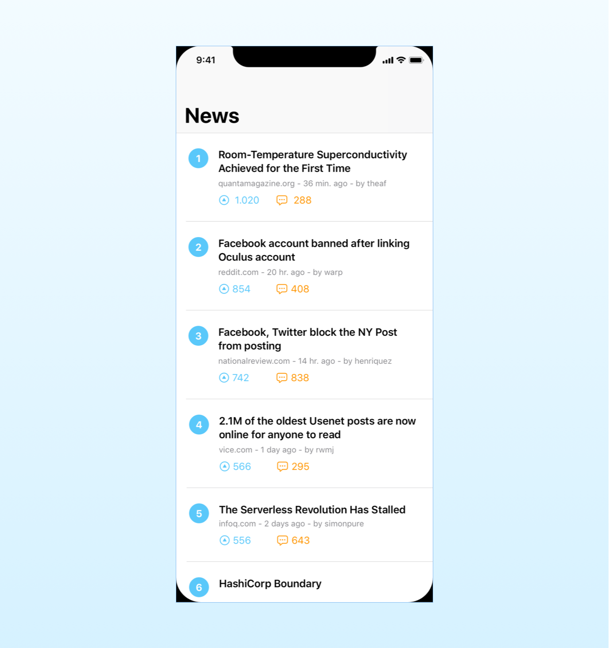 Mockup for the Hacker News app to illustrate the MVVM pattern in SwiftUI