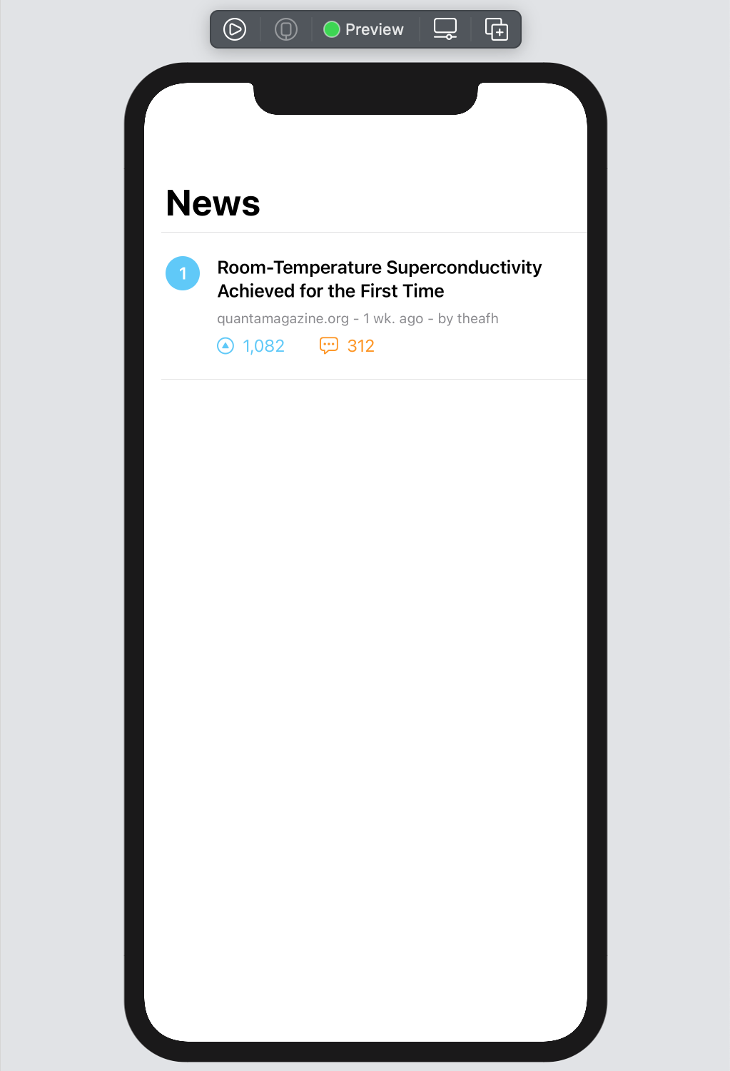 Xcode preview for the complete News view