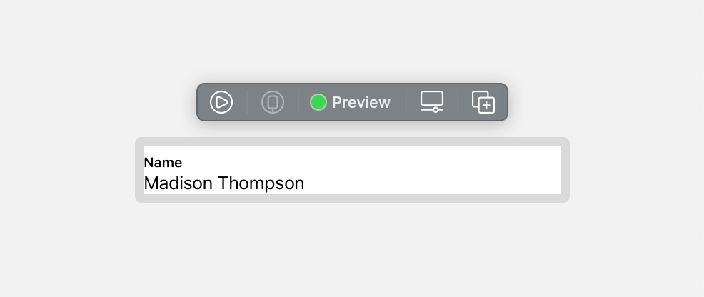 the Xcode preview for the editable row view