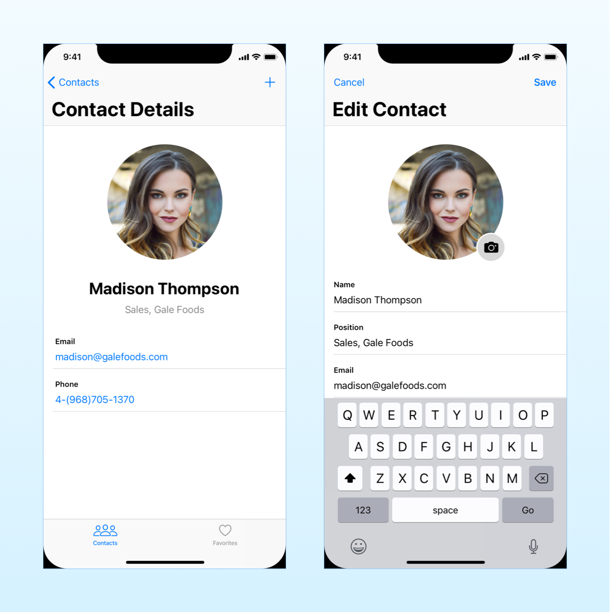 the mockup of the contact sample app we will build