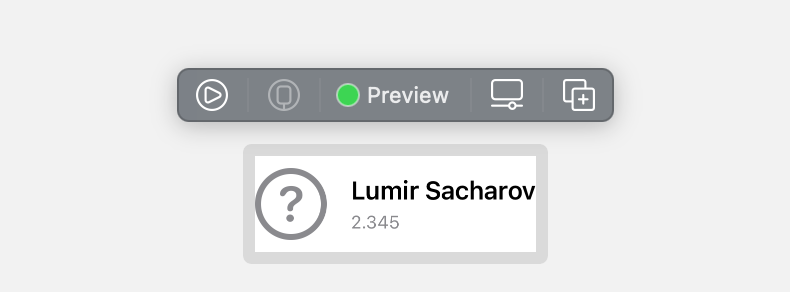 the Xcode preview of the owner view